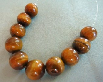 Tigers Eye Smooth Rounds - 12mm - 10 gemstones