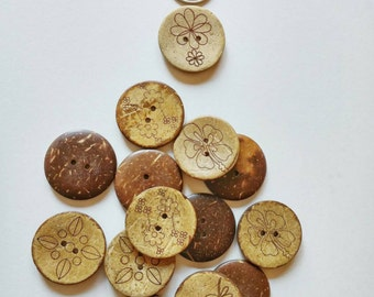 Coconut Buttons with flower design x 8