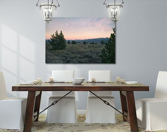 Utah Landscapes,Antelope Photo,Prairie Photography,Sunset Moon Photo,Large Metal Print,Peach Pink Purple,Large Wall Art,After Sunset Photo