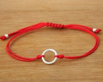 Karma bracelet. Good luck bracelet. Sterling silver bracelet. Tiny silver bead bracelet. Friendship bracelet.String bracelet.C008