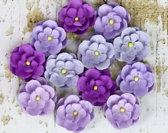 Prima Avante - Lilac Violet Lavender 566623 (12pcs) Mini Mulberry Paper Flowers for scrapbooking cardmaking album embellishments