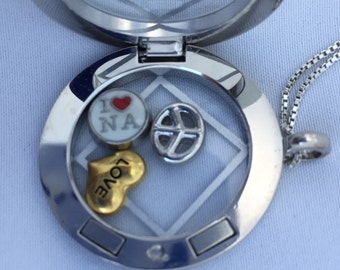 NA Silver Magnetic Locket Pendant - Silver + Three Charms, Narcotics Anonymous, Floating Locket,