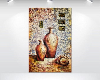 """abstract acrylic painting 24 x 36"""" stillife country painting modern art deep textured stretched canvas art"""