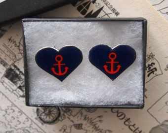 Anchor Heart Tattoo Earrings or Cuff links - Rockabilly Vintage Studs Sailor Jerry Navy Punk