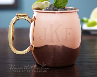 Classic Monogram Moscow Mule Copper Mug, 20 oz - Personalized Gift for Drinkers, Engraved with Initials, Great for Wedding, Graduation