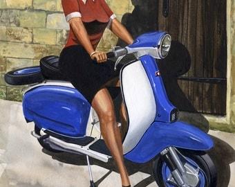 Donna, Vintage, Lambretta, Pinup, Scooter, Ltd Edition Print
