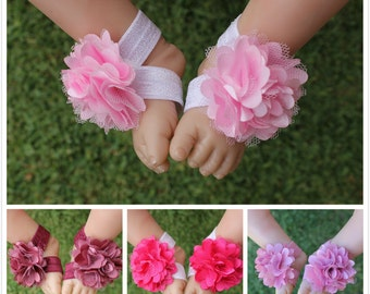 Baby Barefoot Sandals Newborn Handmade Foot Flower Girl Shoes Footwear Foot Band Free Postage