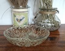 Vintage divided cut glass snack bowl- vintage glassware-vintage dining- vintage snack bowl