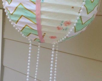 Handmade Hot Air Balloon Decoration ~ Nursery Decoration ~ Mint Green, White, Pink, Peach, and Gold