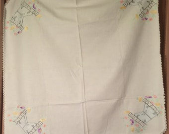 Vintage Linen Table Cloth -  Card Table Size
