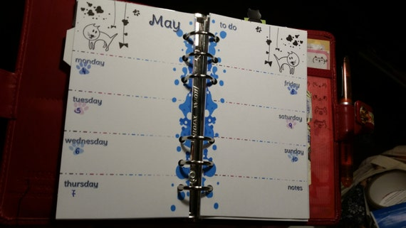 Filofax Personal Size Weekly - 1 Week on 2 Pages - Kitty Cat Agenda
