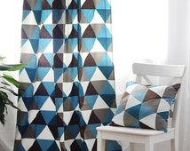 """Blackout curtains, triangle curtains, blackout lined curtains, blue grey and white curtain panels, 52"""" wide, 2 panels, one pair,"""