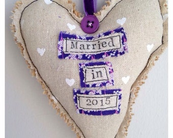 Married in 2016 lavender heart made to order wedding gift