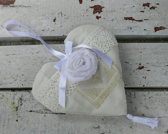 Fabric Heart Decor Wedding Gift Heart Cottage Chic Hanging Heart