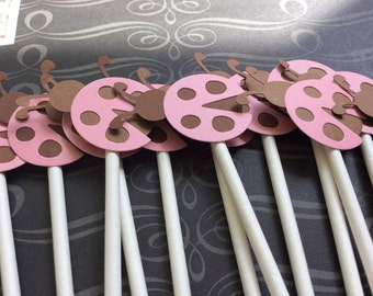 12 Brown and Pink Ladybug Cupcake toppers