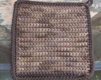 Hand crochet double thick hot pad