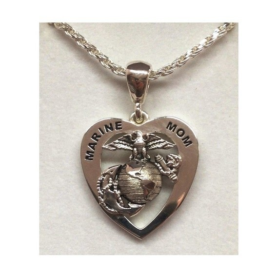 marines heart marine mom sterling silver. Black Bedroom Furniture Sets. Home Design Ideas