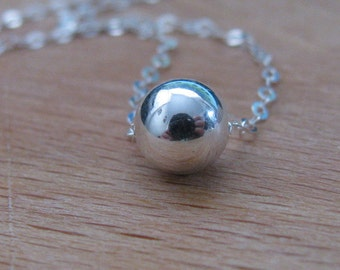 Sterling silver bead pendant, Silver ball necklace, dot necklace,ball necklace, silver chain, bridesmaid, wedding jewelry, everyday necklace