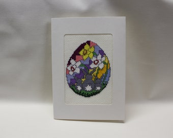 Bunny and Flowers theme - Greeting Card - Cross stitch