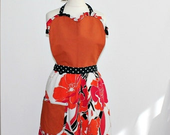 Handmade Flirty Apron Chics Retro Women Apron with pocket Folk style Hostess Cafe owner Garden Dinner party Unique gifts sister Mum