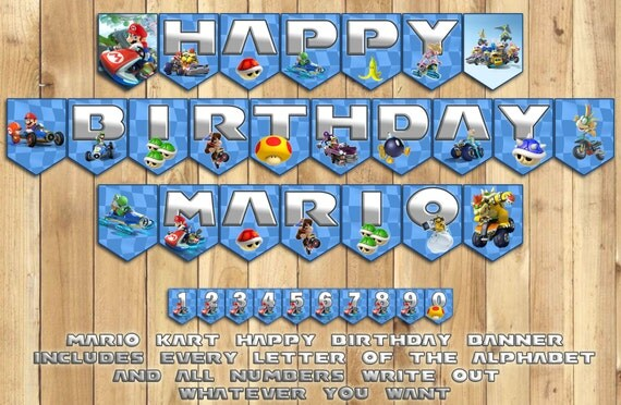 Mario Kart Birthday Banner - Instantly Downloadable Printable Customizable Includes Every Letter # Super Mario Kart Inspired Birthday Banner