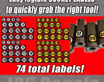 Tool Labels.  Socket Labels. Sticker Decals for sockets, wrenches and tools.