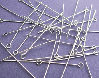 New 19mm 24ga 925 Sterling Silver Eyepins 24pcs