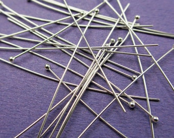 New 38mm 26 gauge 925 Sterling Silver Ball Ended Headpins 24pcs.