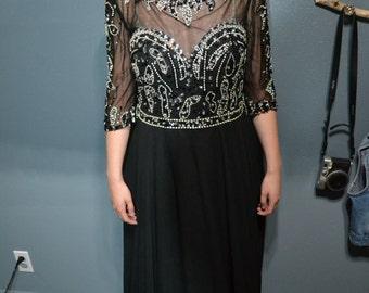 Beautiful Floor Length 3/4 Sleeve Bedazzled Prom/Ball Dress