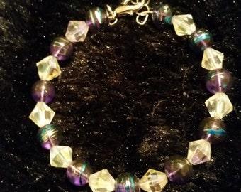 Purple Confetti Crystal Bracelet