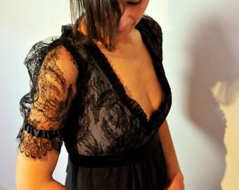 Miras evening dress, ruching, lace, black, rosé, silk, Empire