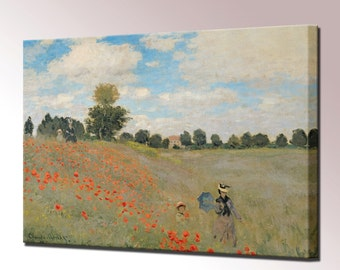 Claude Monet Poppies Near Argenteuil Canvas Wall Art Print Picture Framed Ready To Hang