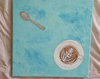 "Latte and Spoon; Acrylic on12x12"" Canvas"