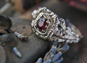 Antique Ruby Ring - Georgian Engraved Scottish Thistle Ruby Red Engagement Ring 10 karat Yellow Gold For Her.