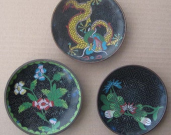 3 Circa 1910 Vintage Black Cloissone Enamel Plates China Antique