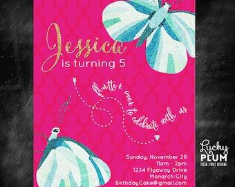 Butterfly Birthday Invitation / Animal Insect Bug Invite / Modern Fly Girl Invitation / Pink Blue Glitter Invite / *Digital file*