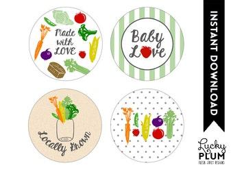 Locally Grown Baby Shower Cupcake Topper / Farmer's Market Cupcake Topper / Fruit Vegetable Cupcake / DIY Printable /  *Digital file*