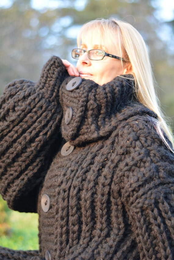 ORDER wool cardigan hand knitted sweater coat long chunky