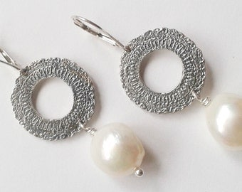 Silver Etched Doily Drop Earrings with White Baroque Freshwater Pearl