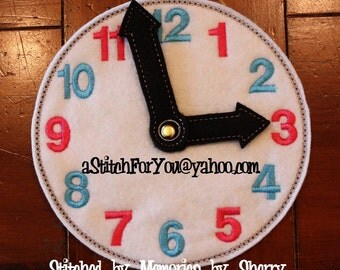 CLOCK with MoVING HaNDS - Done in OnE HooPING - LeARNiNG Teaching, School Child - INSTANT Download Machine Embroidery Design by Carrie