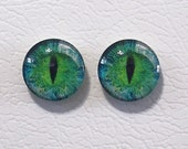 16mm Greenish Blue Flat Backed Glass Eyes - 1 pair - Item #9C
