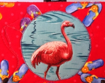 Flamingo and Flip Flops Quilted Fabric Postcard, Free Shipping, Red Background