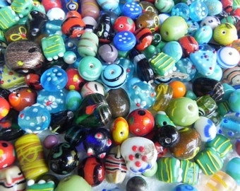 lampwork glass beads Supplies - Awesome  wholesale beads ONE Pounds bumpy SUPER DELUX lampwork beads mix  handmade