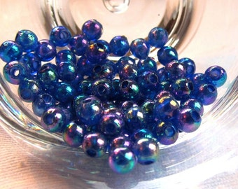 Packet of 100 4mm Acrylic Party Beads in Iris Blue