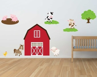 Down on the Farm! - Reusable Wall Sticker, Child Wall Decals, 13 piece set, Farm Pack