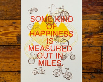 Some Kind of Happiness Bike Screenprinted Poster