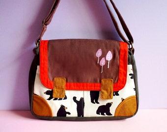 Messenger Bag, Women Messenger Bag, Ladies Handbags, Small Messenger Bag, Fabric Crossbody Bag, Bear Bag - Tree Embroidery - BEAR FABRIC