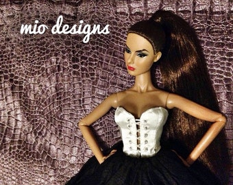 Front Lace Up Silk Corset Bustier for Fashion Royalty, FR2 Dolls CHOICE OF 21 COLORS!