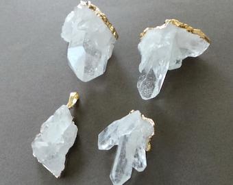Rough Raw Crystal Quartz Druzy 22k Gold Dipped Pendant