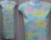 60s Vintage Sherbert Pastel Floral Psychedelic Sleeveless Shift Dress